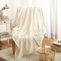 Двусторонний вязаный плед Comfort белый 160х220 см