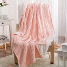 Двусторонний вязаный плед Comfort розовый 160х220 см
