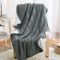 Двусторонний вязаный плед Comfort серый 160х220 см