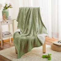 Двусторонний вязаный плед Comfort зеленый 160х220 см