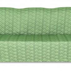 Чехол на трехместный диван Жаккард Листья, зеленый