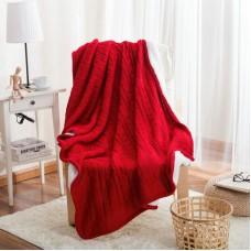 Двусторонний вязаный плед Comfort красный 160х220 см