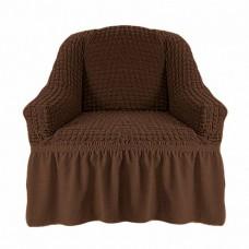 Чехол на кресло с оборкой (шоколад)
