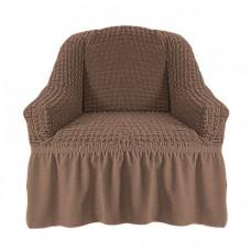 Чехол на кресло с оборкой (Серо-коричневый)