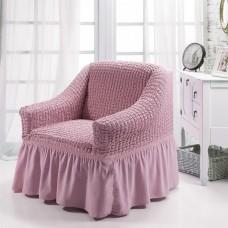 Чехол на кресло с оборкой (Пудра)