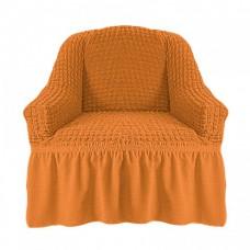 Чехол на кресло с оборкой (Рыже-коричневый)