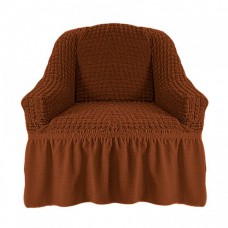 Чехол на кресло с оборкой (Темно-коричневый)