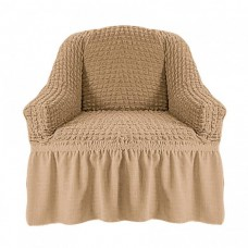 Чехол на кресло с оборкой (Молочный)