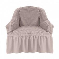 Чехол на кресло с оборкой (Кремовый)