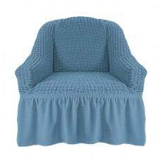 Чехол на кресло с оборкой (Серо-голубой)