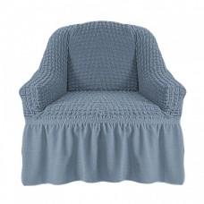 Чехол на кресло с оборкой (Серый)