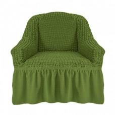 Чехол на кресло с оборкой (Оливковый)