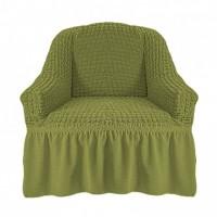 Чехол на кресло с оборкой (Фисташковый)