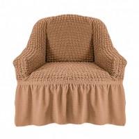 Чехол на кресло с оборкой (Песочный)