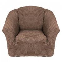 Чехол на кресло без оборки (Серо-коричневый)