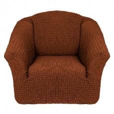 Чехол на кресло без оборки (Темно-коричневый)