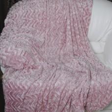 Покрывало из искусственного меха волна грязно-розовое QW-079