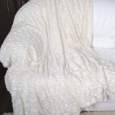 Покрывало из искусственного меха волна молочное QW-080