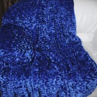 Покрывало из искусственного меха волна синее QW-081