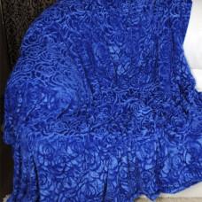 Покрывало из искусственного меха роза синее QW-075