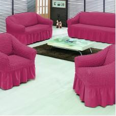 Чехол на диван и 2 кресла с оборкой малиновый S-11