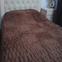 Плед покрывало бамбуковое с коротким ворсом кубик коричневое QW-002