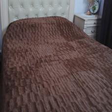 Покрывало на кровать бамбуковое с коротким ворсом кубик коричневое 220x240 см.