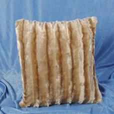 Наволочка декоративная из искусственного меха бежевая в полоску 50х50 см. H-11