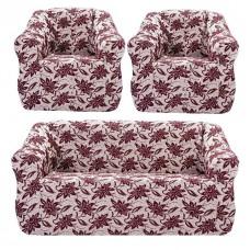 """Чехол на диван и 2 кресла жаккард """"Brokar"""" цветы, бордовый TM-12"""