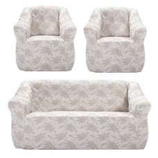 "Чехол на диван и 2 кресла жаккард ""Brokar"" цветы, пудра TM-13"