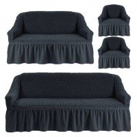 Чехол на 3-х местный диван, 2-х местный диван и 2 кресла Темно серый 4X-06