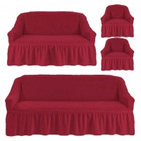 Чехол на 3-х местный диван, 2-х местный диван и 2 кресла Бордовый