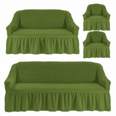 Чехол на 3-х местный диван, 2-х местный диван и 2 кресла Зеленый 4X-04