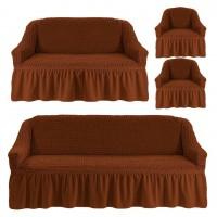 Чехол на 3-х местный диван, 2-х местный диван и 2 кресла Рыже коричневый