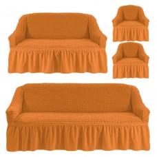 Чехол на 3-х местный диван, 2-х местный диван и 2 кресла Ярко рыжий