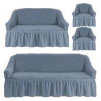 Чехол на 3-х местный диван, 2-х местный диван и 2 кресла Серый 4X-07