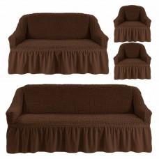 Чехол на 3-х местный диван, 2-х местный диван и 2 кресла Коричневый 4X-03