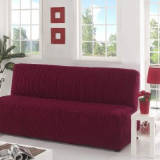 Чехол на диван без подлокотников на резинке бордовый B-105