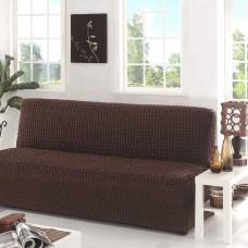 Чехол на диван без подлокотников коричневый B-106