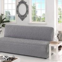 Чехол на диван  без подлокотников серый B-108