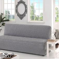 Чехол на диван  без подлокотников универсальный серый B-108