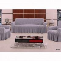 Набор натяжных чехлов на диван и 2 кресла Vip серый S-14