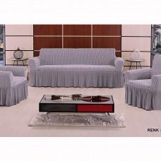 Чехол на диван и 2 кресла соты Vip Altinkoza серый/белый S-14