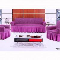 Чехол на диван и 2 кресла Vip Соты сиреневый S-18