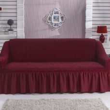 Чехол на двухместный диван на резинке бордовый RT-11