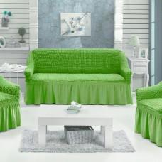 Натяжные чехлы на мягкую мебель салатовый