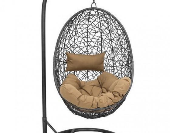Подвесное кресло  LESET SAILS, каркас Чёрный, подушка Кофейная