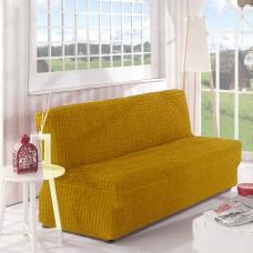 Чехол на диван без подлокотников ярко рыжий B-115