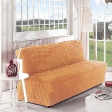 Чехол на диван без подлокотников медовый B-114