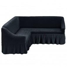 Чехол на угловой диван на резинке темно серый M-26